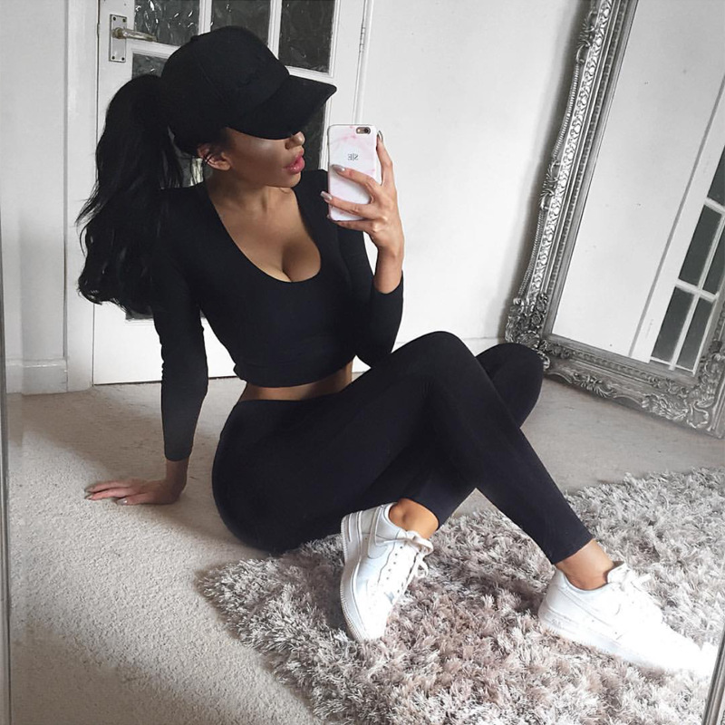 2017 New Tracksuit, Crop Hooded Top And Leggings, Sporting Clothes 2