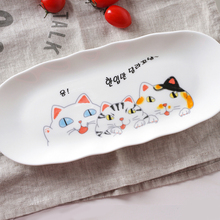 Japanese cuisine sushi dishes creative ceramic cute cat plate Western-style food cake dessert rectangular plate free shipping
