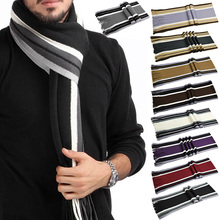 Fashion Men Classic Cashmere Scarf Winter Warm Soft Fringe Striped Tassel Shawl Neck Wrap striped scarves Crochet Shawl Bandana