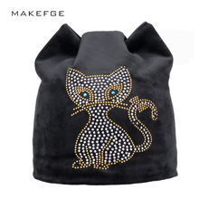 warm women's hats meow Cat ears Skullies Beanies Winter black hat For Hot Girls Beanie With Pink Rhinestone Female Hats 2017(China)
