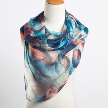 Lady Girl Leaves Printing Silk Scarf Spring Winter Women Long Shawl Warp