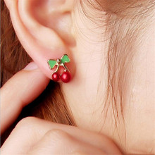 2017 Cherry Earrings Jewelry Hot Korean Version Of a Pair Of Bow Small Earrings Jewelry Wholesale Quick Sell Factory Direct