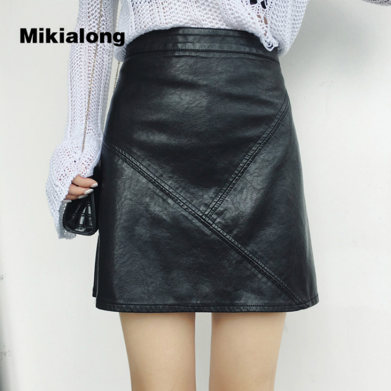 Mikialong Vintage Patchwork PU Leather Skirt Women High Waist Line Mini Skirt 2017 Autumn Winter Casual Back Zipper Jupe Femme