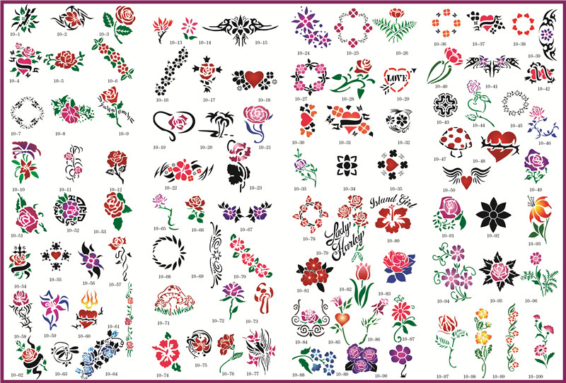 Template tattoo golden phoenix NO.10 airbrush tattoo stencils 100pcs flowers series picture<br>