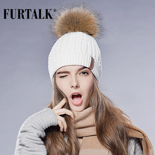 Furtalk Real Fox Fur Hat Big Raccoon Pom Pom Hat Knitted Beanie Caps Spring Autumn Women Winter Hats for Girls