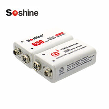 Soshine 2pcs Power Battery 6F22 9V Li-ion Lithium 650mAh Chemistry Rechargeable Battery For Electronic Instruments