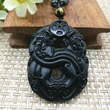 Drop Shipping Natural Black Obsidian Pendant Hand Carved Double Brave Troops Lucky Amulet Good Luck Pendant Fashion Jewelry(China)