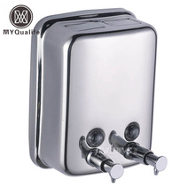 304 Stainless Steel Double Soap Dispenser Wall Mounted Hand Lotion Shampoo Soap Dispenser(China)