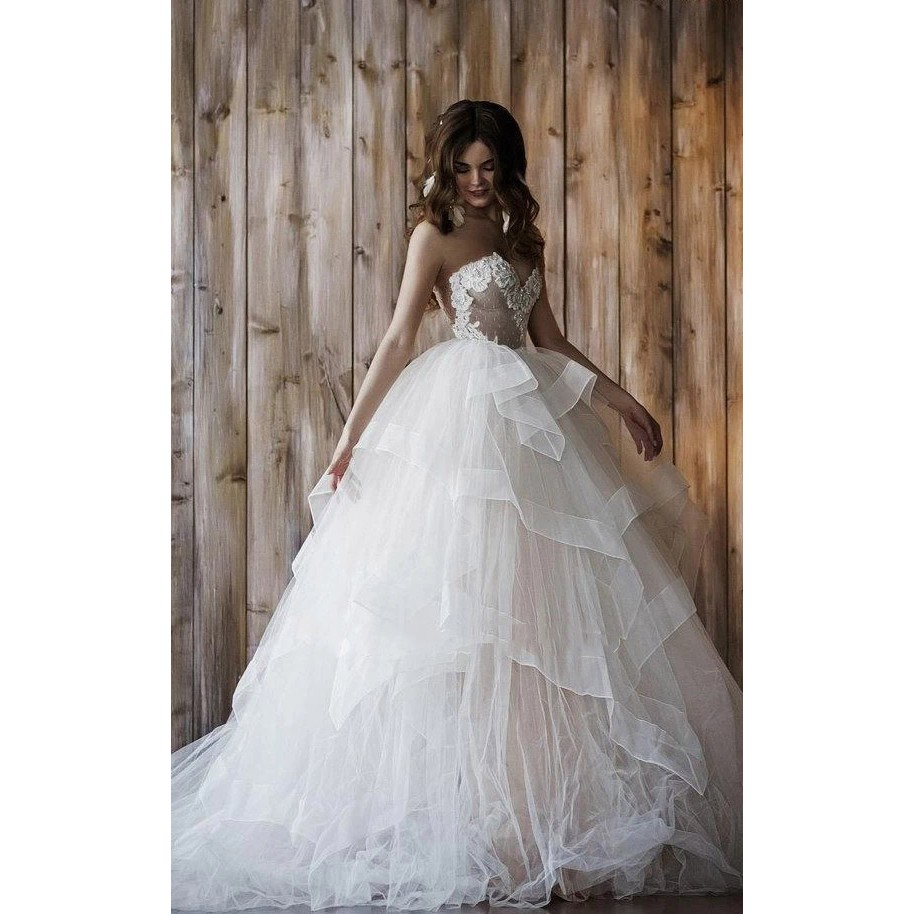New Custom Made 2019 Wedding Dress With Detachable Skirt Two in one Lace Tulle Wedding Dresses Bridal Gown