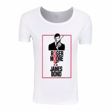 Asian Size,2017 Women Print Remember Roger Moore 007 James Bond Fashion T-shirt O-Neck Short sleeves Summer cool T Shirt ,HWP730(China)