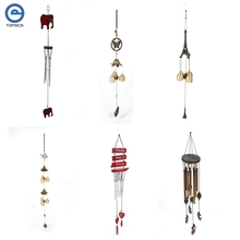Antique Wooden Elephant Wind Chimes Metal Butterfly Windbell Outdoor Hanging Decoration Wind Bell Good Luck Gift Windchimes