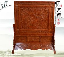 Dongyang wood carving antique wood floor screen camphor wood seat screen Chinese decoration plaque Phoenix peony special offer(China)