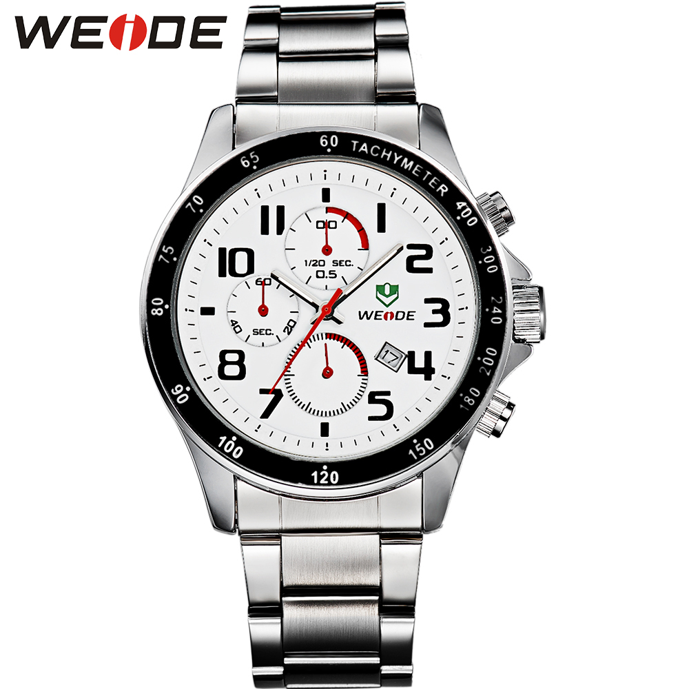 WEIDE High Quality Men Dress Watches Stainless Steel White Dial Quartz Analog Date Display 3ATM Waterproof Luxury Brand Watch<br><br>Aliexpress