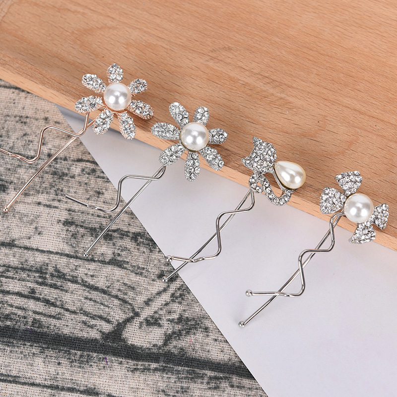 Women Elegant Crystal Pearls Hair Forks Hairpins Wedding Hair Jewelry Accessories Hair Clips Headpieces For Bridal Hairstyle
