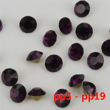 size pp7-pp19 Color AMETHYST loose pointback glass chaton rhinestones China quality 1400 pcs per pack(China)