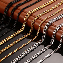 Meaeguet Fashion 24/30inch long necklace 3mm/5mm/7mm wide stainless steel long Gold-Color necklace chain jewelry