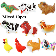 10pcs foil balloons cartoon animal cow dog cat air balloons with leg walking pet balloons for children happy birthday balloons(China)