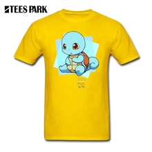Custom Made T Shirts Pokemon Squirtle Sea Turtle Man Slim Fit Short Sleeve Tee Shirts Best Selling Men's Anime Gift for Boy(China)