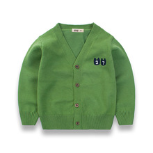 2017 Autumn Baby Girls Cardigans Cotton Boys Cardigan Sweaters 2-10 Years Children's Clothing Green Dark Blue Red Grey Yellow(China)