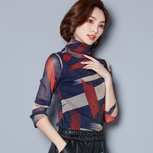 2017 New Autumn Women Shirts Print Upset Add Wool Mesh Turtleneck Full Sleeve Bright Silk Blouse Shirt Brown Blue 6836(China)