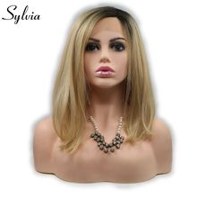 sylvia short bob blonde 2T ombre synthetic glueless lace front wig dark root golden natural look heat resistant fiber woman hair(China)