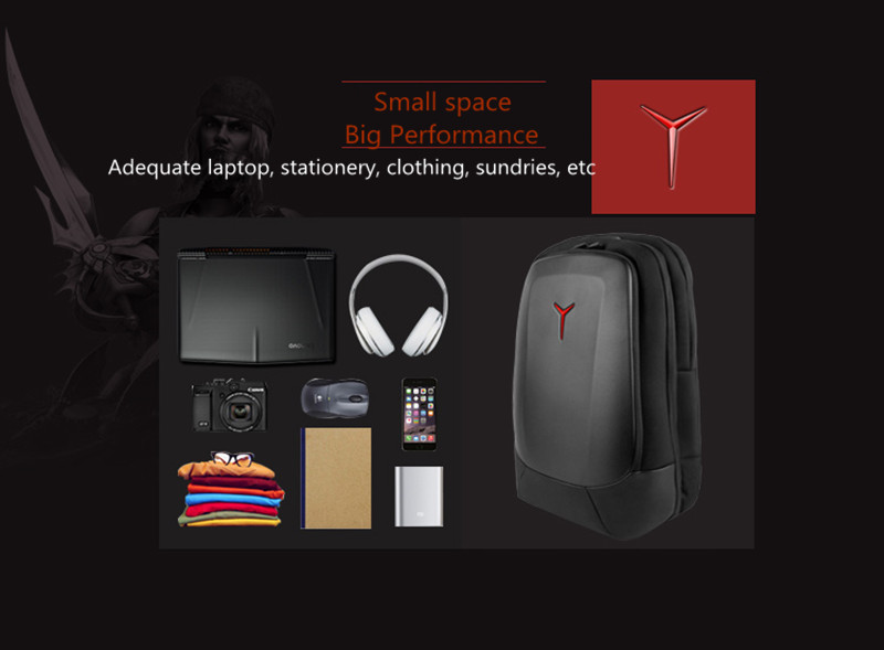 Free shipping  Lenovo Rescuers 15.6 inch computer pack Y series of game panzer style backpack