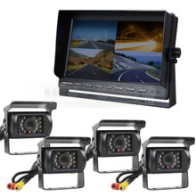 DIYSECUR 10 Inch Split Quad Display Monitor 1080 x 600 + 4 x CCD IR Night Vision Rear View Camera Waterproof Monitoring System