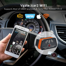 High Quality Vgate iCar2 ELM327 Wifi OBD2 Diagnostic-Tool for IOS iPhone iPad Android Vgate icar wifi ELM 327 OBD II Code Reader(China)
