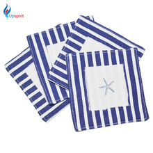 4Pcs/set Mediterranean Style Stripe Cloth Linen Placemats Coffee Cup Mat Antiskid Insulation Pad Table Decoration Accessories(China)