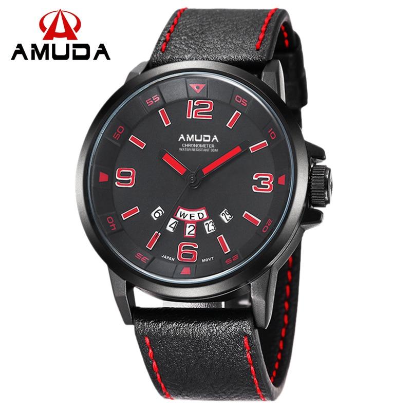 AMUDA Luxury Date Day Casual Watch Men Sports Watches Army Military Quartz Genuine Leather Wrist Male Watch relogio masculino<br><br>Aliexpress