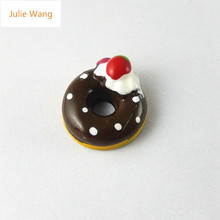 Julie Wang 10PCs cheery Coffee Cake Mini Resin Charms Pendants Handmade Hanging Zipper Gift Bracelet Handcrafts Accessory