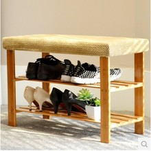 Practical double-layer shoe rack, shoes stool, green living furniture,Bamboo shoe rack,Storage rack(China)