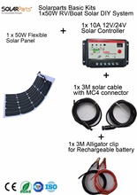 Solarparts Basic Kits 12V 1x50W DIY RV/Marine Solar System Kits 50W flexible solar panel+controller+cable outdoor light led .(China)