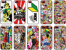 Wholesale lot JDM Sticker plastic Hard Cell Phone Cover For iphone 4S 5 5S SE 5C 6 6S 7 Plus For iPod Touch 4 5 6 Mobile Case