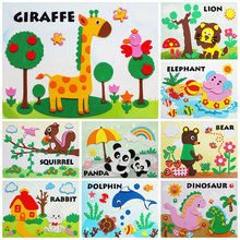New design DIY non-woven EVA 3 d puzzle cartoon animals pot children hand toys,Early childhood educational toys dw01