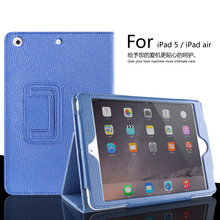 For ipad Air  Matte Litchi Surface Artificial Leather Cover With Auto Sleep /Wake Up For Apple ipad 5  Magnetic Flip Case
