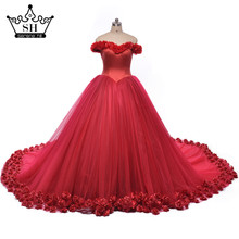Flower  Burgundy Ball Gown Wedding Dress Bridal Dress robe de mariage mariee princesa wedding dresses said mhamad wedding gown