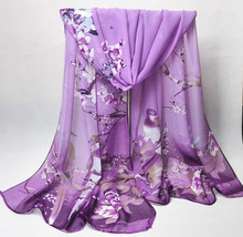 New  Magpie Bird Print  Silk Chiffon All Match Ipek Esarp Womens Scarves Scarves Long Wraps