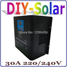 solar cells Solar Panel Battery Charge Regulator 220V or 240V high voltage solar charge controller 30A LCD Display solar system(China)