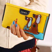 Women Long Faux Leather Dog Pendent Wallet Double Zip Hasp Purse Card Holder Bag BW76