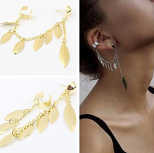 12pcs New 2015 Fashion gold Silver Leaf Leaves ear cuff for Women/Girl's jewelry gifts cool chain link contact clip earring
