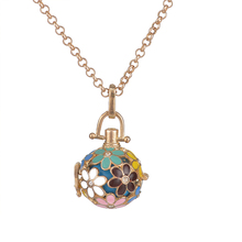 Pregnancy Necklace wish box Mexican Bola 16mm Harmony Ball fashion Colored petals Mother Lockets Jewelry gold necklace(China)