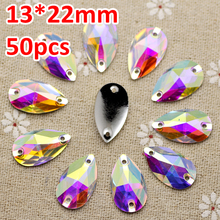 50pcs 13*22mm crystal AB Silver Base FlatBack Rhinestone Sew On Stone Droplet Resin Sewing On Rhinestone For Jewelry And Strass(China)