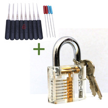 New arrivaTransparent Visible Pick Cutaway Practice Padlock Lock With Broken Key Removing Hooks Kit Extractor Set Locksmith Tool