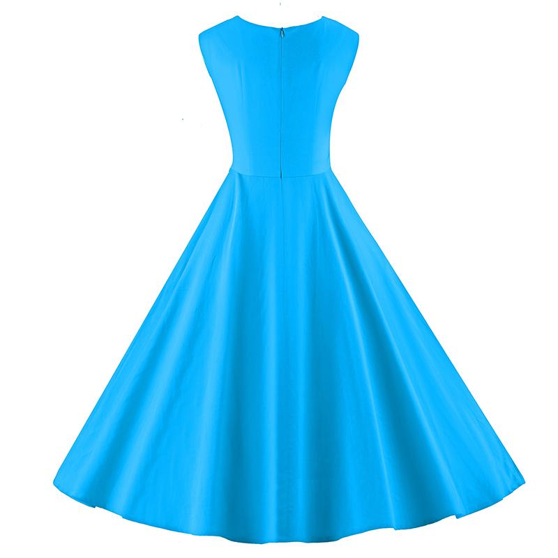 Kostlich 6 Color Retro Summer Dress Women 2017 Sleeveless Hepburn 50s Vintage Dress Elegant Big Swing Rockabilly Party Dresses (23)