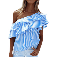 Striped Blouses 2017 Sexy Off Shoulder Top Ruffles Women Shirts Plus Size Girls Beach Blusas Femininos Summer Shirts Pink GV593(China)