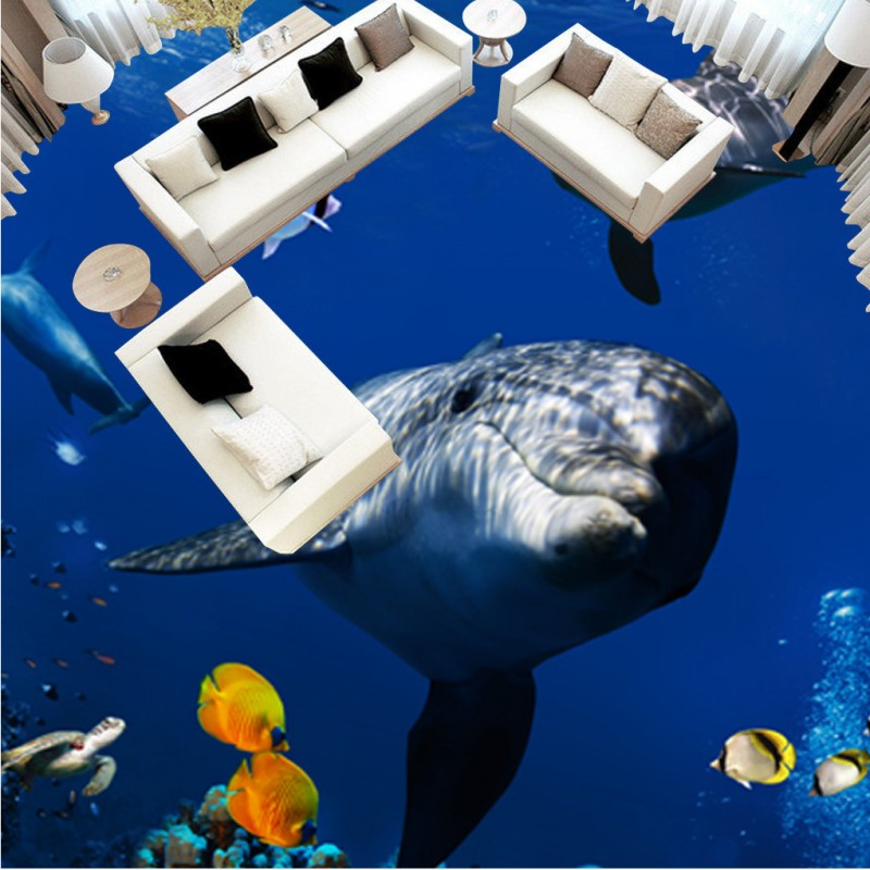 Free Shipping 3D Underwater World Dolphin Coral flooring painting bedroom library decorative self-adhesive floor mural<br><br>Aliexpress