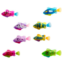 Luminous Electric Robotic Fish Activated Battery Powered Swimming Boy Bath Pet Toys Aquarium Decor CSV Dropshipping Wholesale(China)