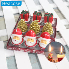 6 styles 3pcs santa snowman pinecone ornament candle Navidad Decorations Gift Natal Christmas candle Ornament for home market