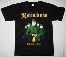 Vintage Tees Rainbow Difficult To Cure Blackmore Deep Purple Elf Dio Men'S Crew Neck Short-Sleeve Top T Shirt